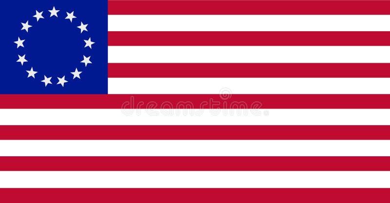 Die Betsy Ross-Flagge die Vereinigten Staaten von Amerika stock abbildung