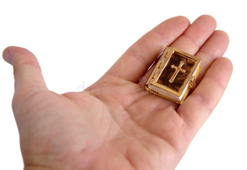 Die Bibel auf der Palme des Mannes stockfotografie