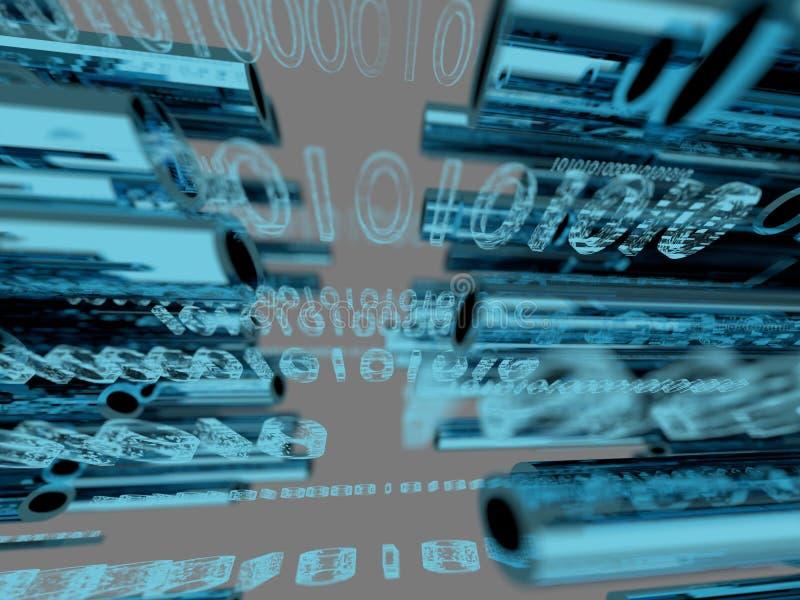 Die binär Code-Daten, die optische Drähte 3d durchfließen, übertragen stock abbildung
