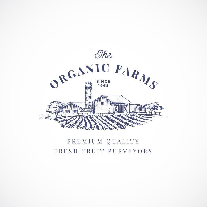 Die Biohöfe extrahieren Vektor-Zeichen, Symbol oder Logo Template Elegante Bauernhof-Landschaftszeichnungs-Skizze mit noblem Retr lizenzfreie abbildung