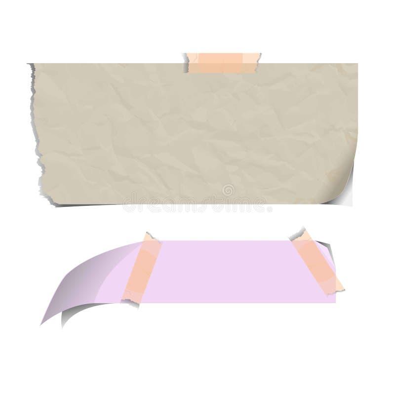 Die Blätter des leeren Papiers, die auf klebende klebrige Anmerkungen zerrissen wurden, lokalisierten Vektor lizenzfreie abbildung