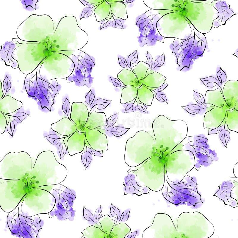 Die Blütenblumen lokalisierten Vektor gezeichnet mit empfindlicher schwarzer Tintenlinie und rosa Aquarellart Nahtloses Muster vektor abbildung