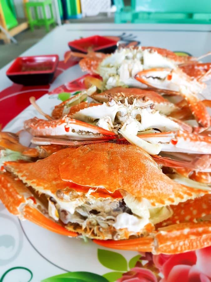 Die blaue Krabbe, die auf weißem Teller gekocht wurde stockfotos