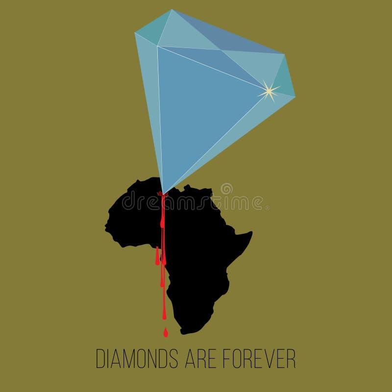 Die blauen Diamantbohrgeräte, die Afrika bluten, vector Bürgerkriegkonzept lizenzfreie abbildung