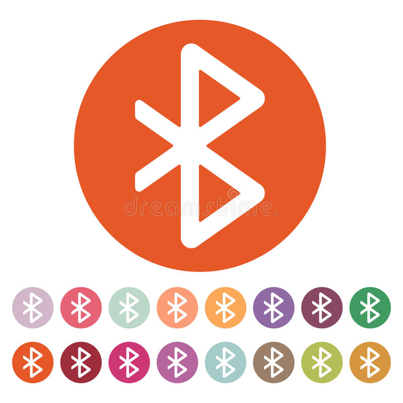 Die bluetooth Ikone Netz- und Getriebesymbol flach lizenzfreie abbildung