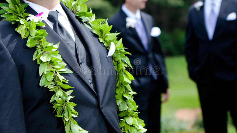 Die Blumen des Bräutigams - hawaiische Hochzeit stockfotos