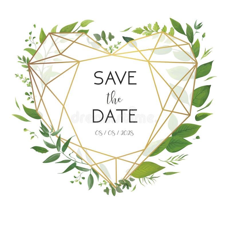 Die Blumen Heirat laden, Einladung, sparen das Datumskartendesign ein Luxus-, goldener geometrischer Herzformrahmen u. frischer W vektor abbildung