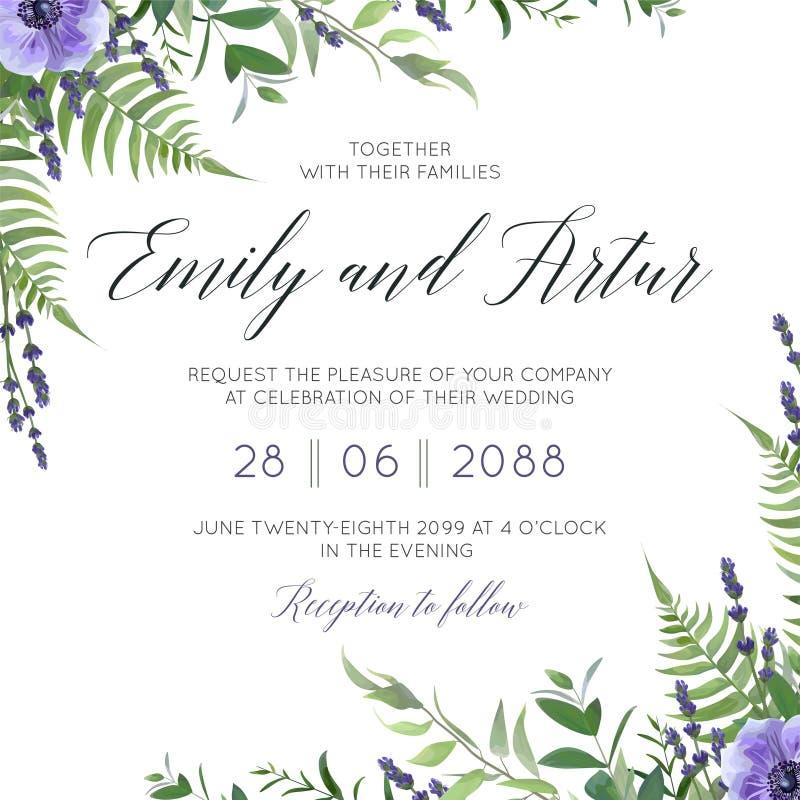 Die Blumen- Heirat laden, Einladungsabwehr das Datumskartendesign mit Aquarelllavendelblüte, violette Anemonenblumen, Wald-gree e lizenzfreie abbildung