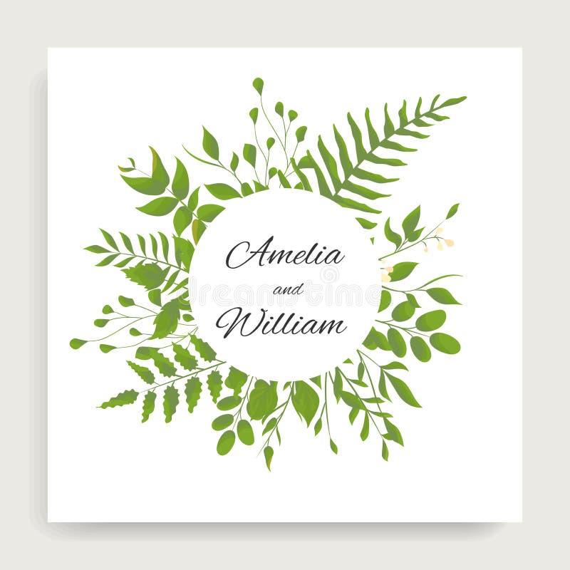 Die Blumen Heirat laden Kartenentwurf mit deferent Blättern der Aquarellart ein lizenzfreie abbildung