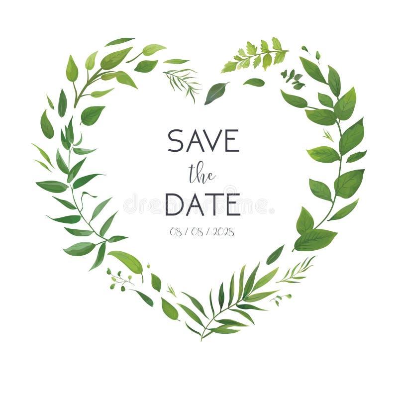 Die Blumen Hochzeit laden, Einladungskarte, speichern den Datumsentwurf ein Botanischer Grünherz-Formkranz Gartenpflanzen, grüner lizenzfreie abbildung