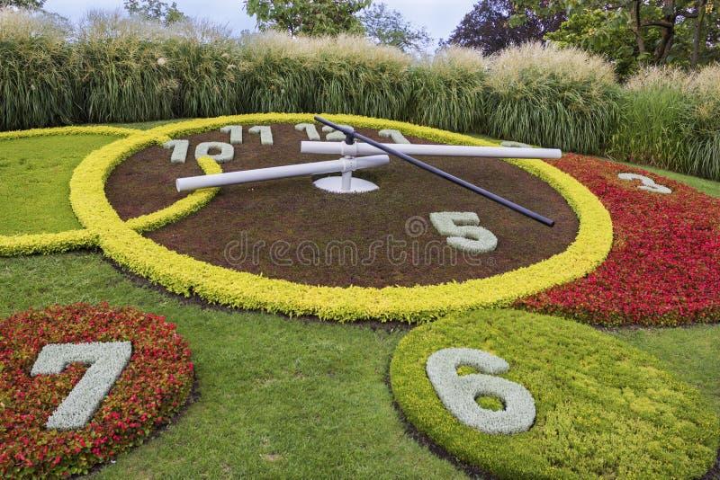 Die Blumen-Uhr in Genf, die Schweiz lizenzfreies stockbild