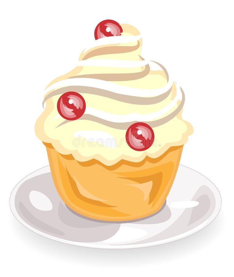 Die Blumenikone eines k?stlichen Muffins Ein Pl?tzchen mit einer Sahnef?llung verziert jeden m?glichen Feiertagskuchen Der Kuchen vektor abbildung