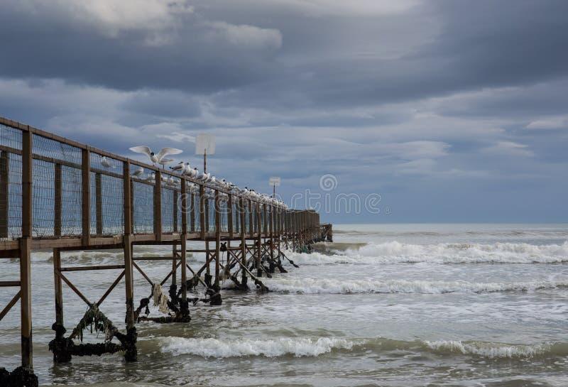 Die Brücke auf dem Meer stockbilder