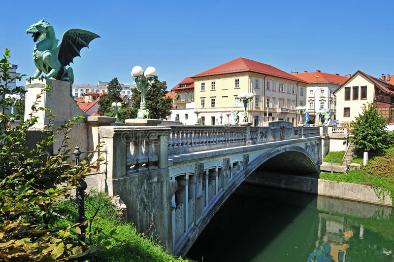 Die Brücke des Drachen, Ljubljana, Slowenien stockbild