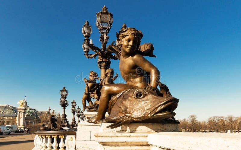 Die Brücke von Brücke Alexandre III, Paris frankreich stockfotos
