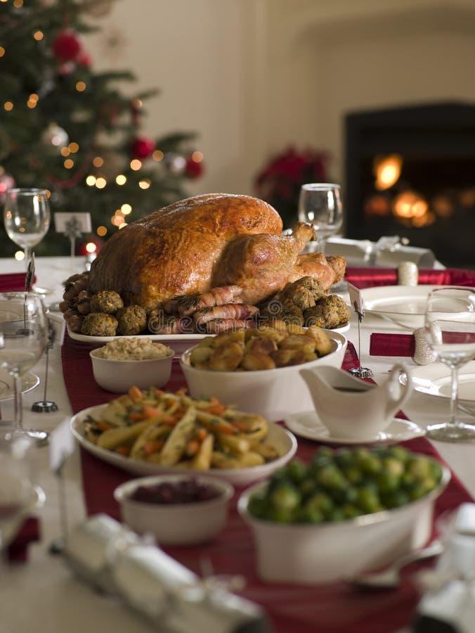 Die Braten-Türkei-Weihnachtsverbreitung stockfotografie