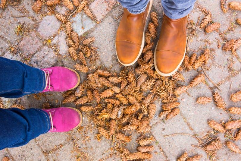 Die braunen Stiefel der Männer und die Stiefel der lila Frauen auf einem Weg im Wald bedeckt mit Kegeln von Koniferenbäumen stockfoto