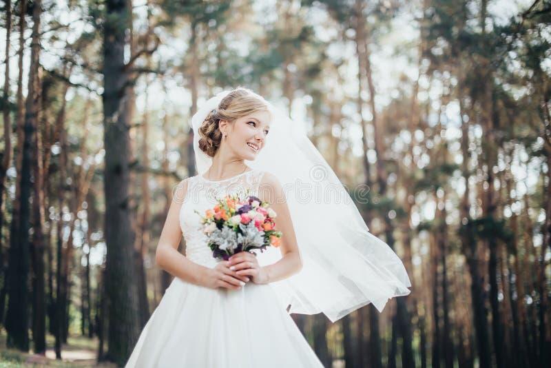 Die Braut in einem weißen Kleid lizenzfreie stockbilder