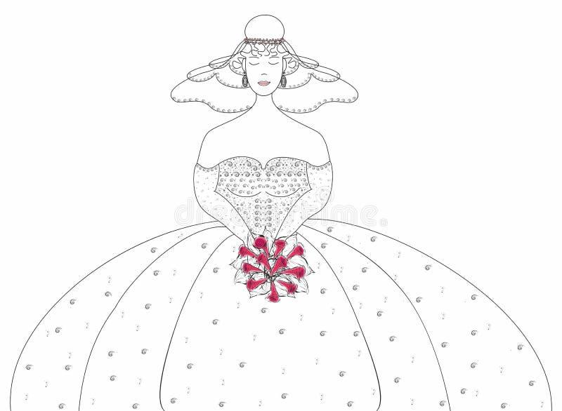 Download Die Braut Mit Einem Hochzeitsblumenstrauß. Vektor Abbildung - Illustration von haar, nachricht: 26374321