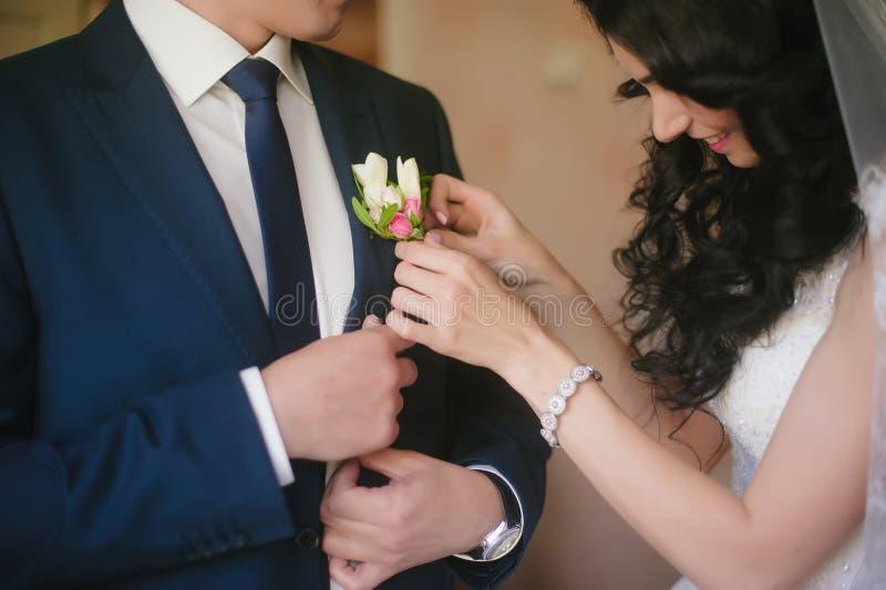 Die Braut schmückt Knopflochhochzeitsanzugbräutigam, Hochzeit, Feier, Blumen, Bräutigam, Braut, Lebensstil stockbild