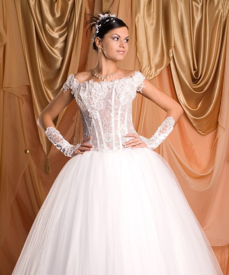 Die Braut und das Kleid stockfotos