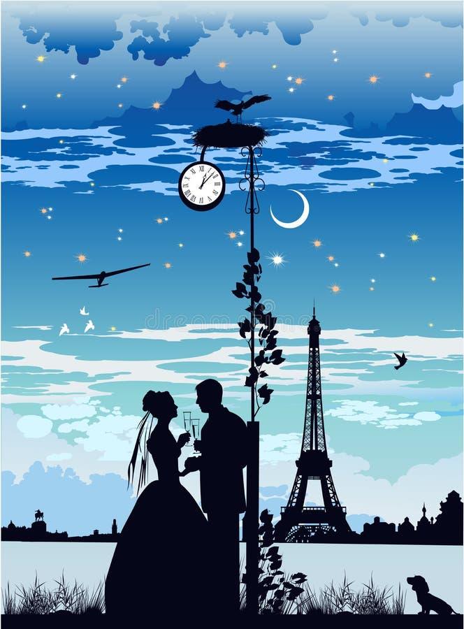Die Braut und der Bräutigam in Paris vektor abbildung