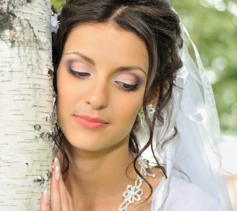 Die Braut und eine Birke stockbilder