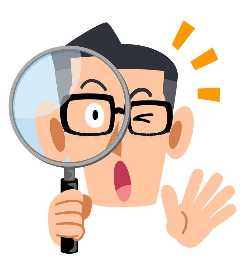 Die Brillen des Mannes, die ernsthaft die Lupe untersuchen vektor abbildung