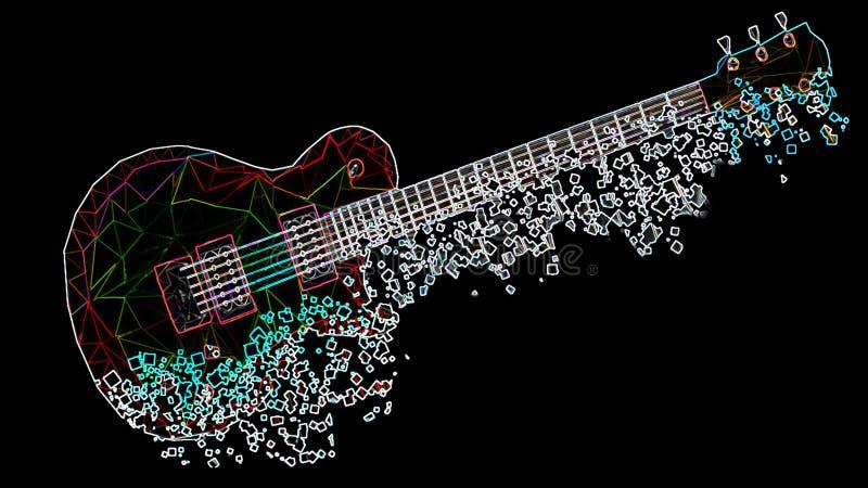 Die bunte geometrische Gitarre, die durch Dreiecke mit einem Neoneffekt gebildet wird, verblaßt in den Pixeln lizenzfreies stockbild