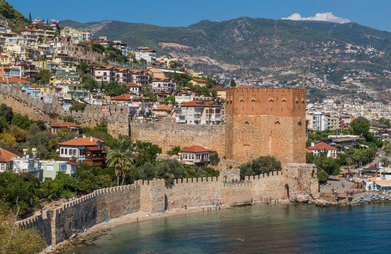 Die bunte Stadt von Alanya, die Türkei lizenzfreies stockbild