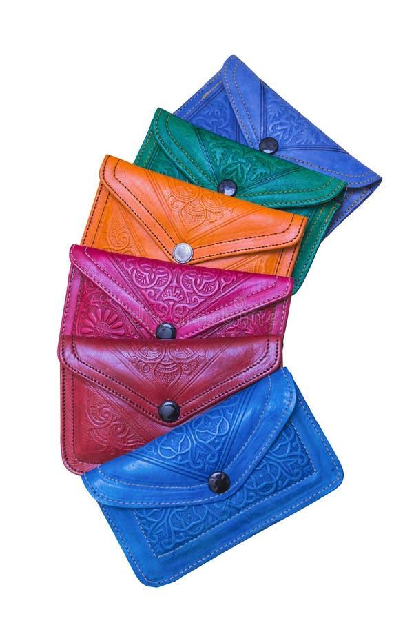 Die bunte traditionelle Handtasche von Marokko machte vom Leder lizenzfreie stockfotos