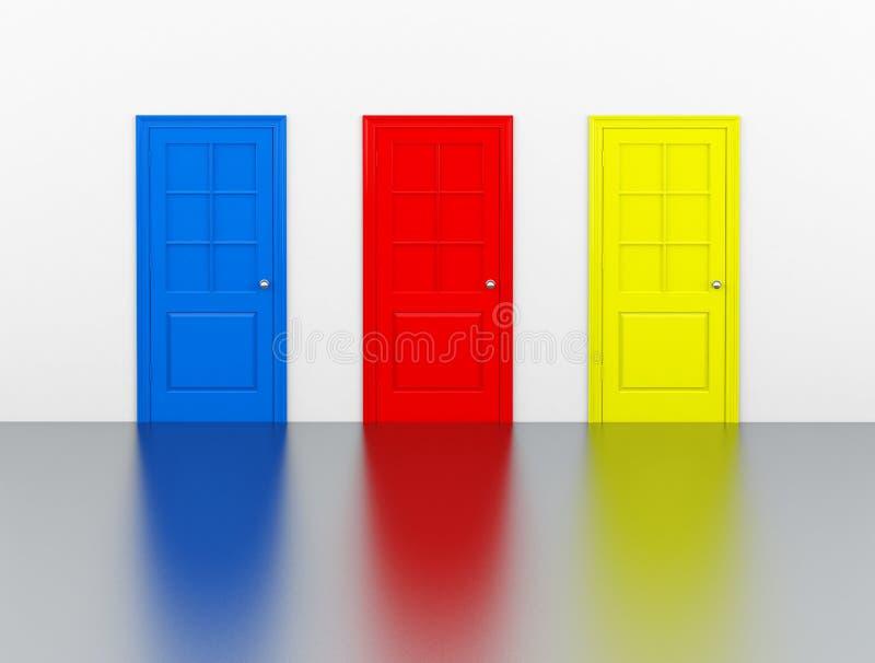 Die bunten Türen lizenzfreie abbildung