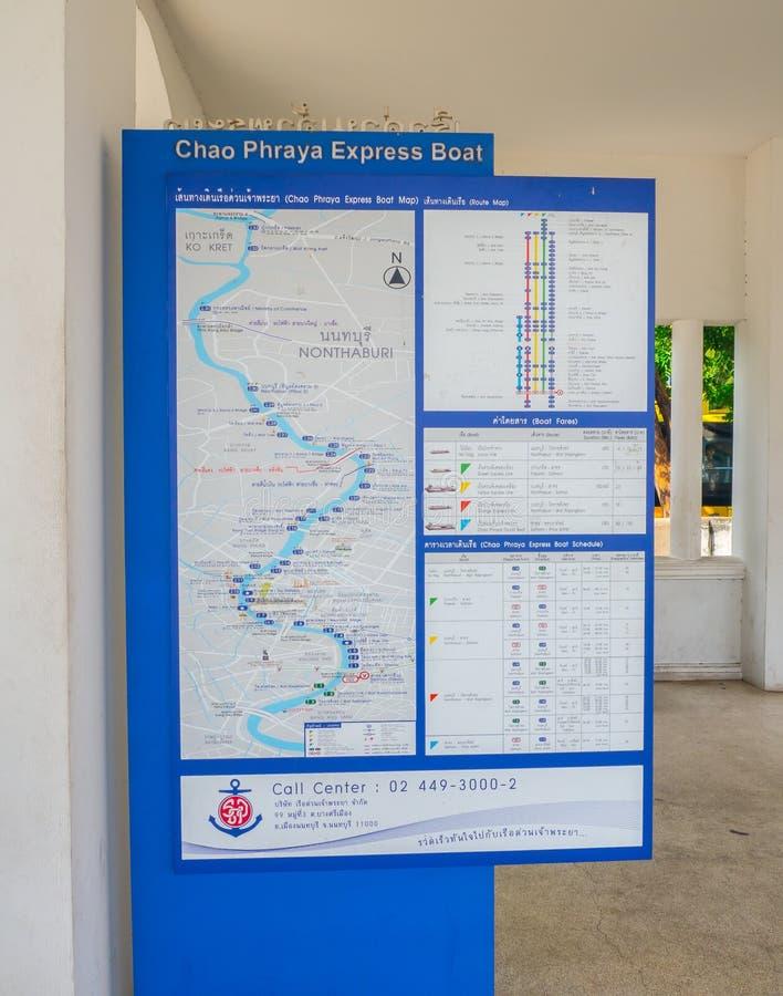 Die Chao Phraya Express Boat Route-Karte am Erinnerungsbrückenpfeiler lizenzfreies stockfoto