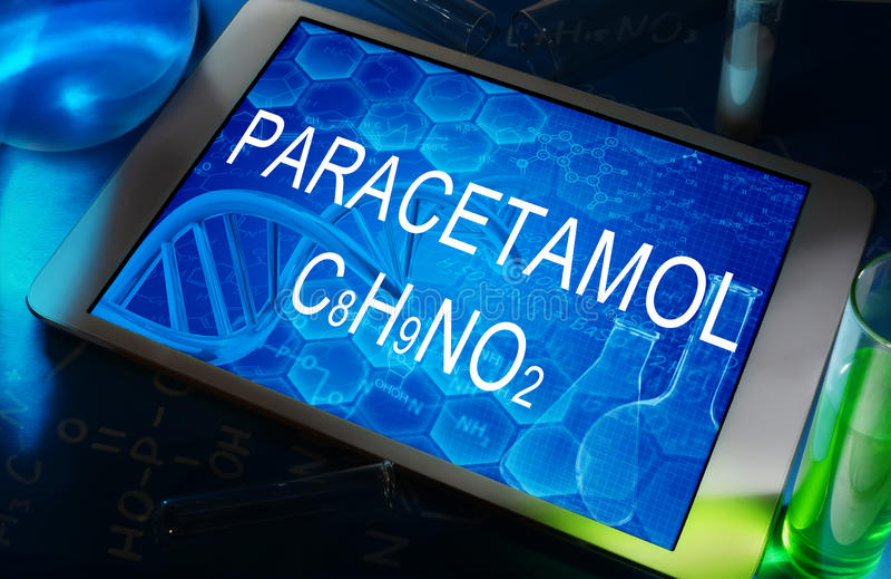 Die chemische Formel des Paracetamols stockfotos