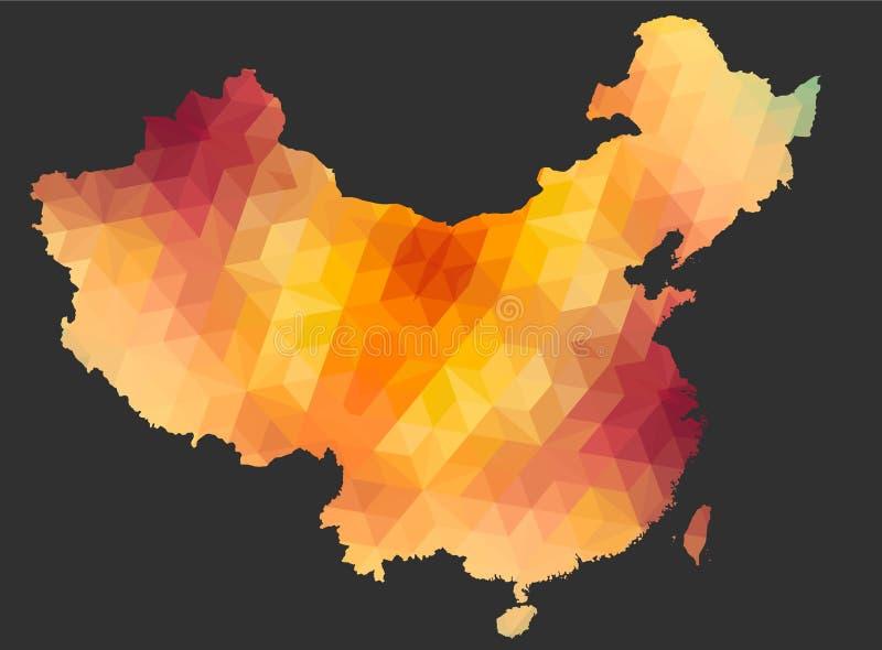 Die China-Karte der polygonalen Art vektor abbildung