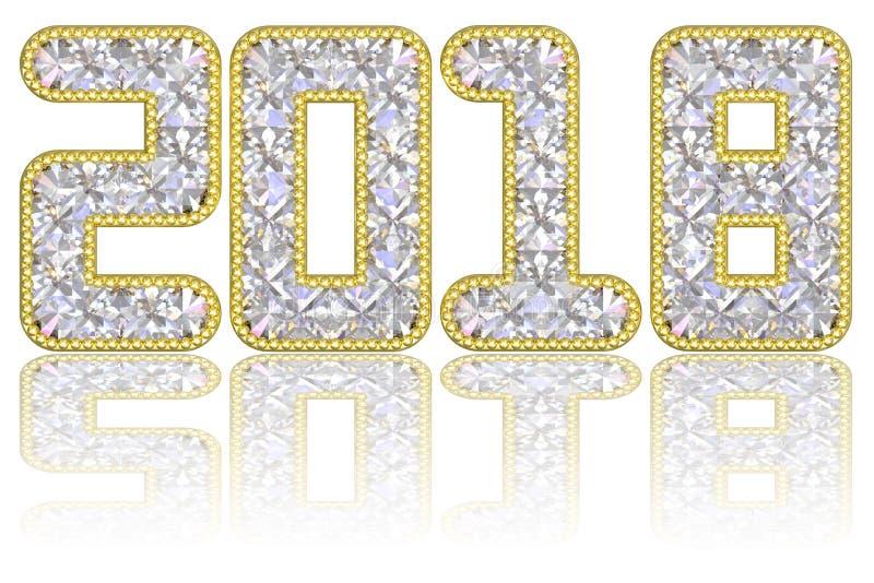 2018 die cijfers uit gemmen in gouden rand op glanzende witte achtergrond worden samengesteld vector illustratie