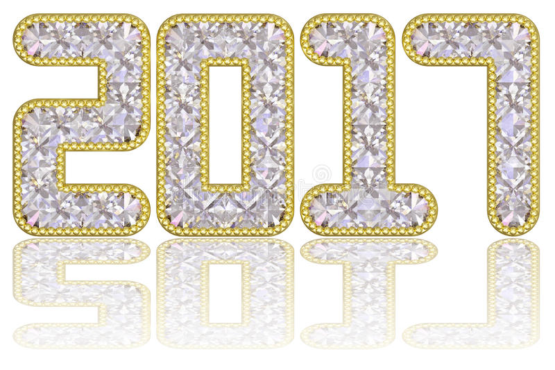 2017 die cijfers uit gemmen in gouden rand op glanzende witte achtergrond worden samengesteld vector illustratie