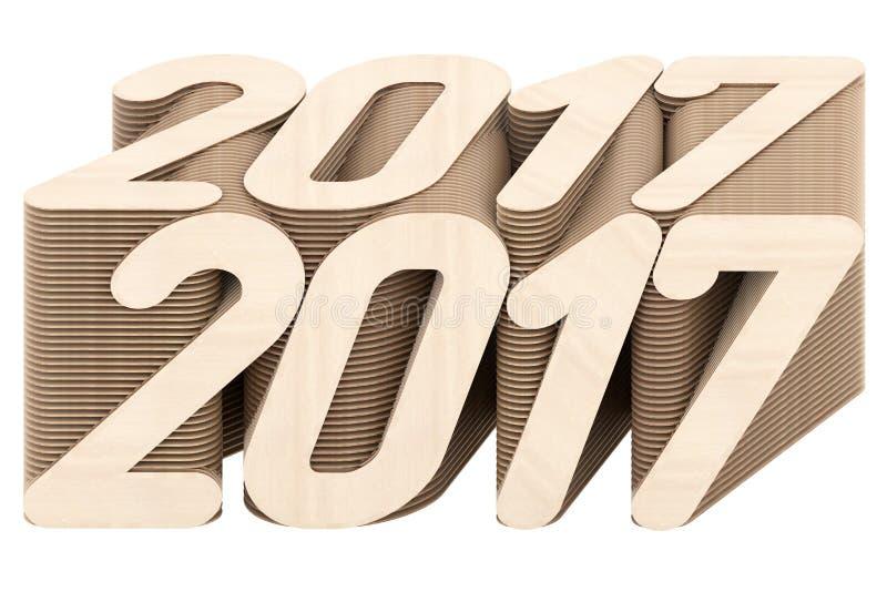 2017 die cijfers uit gesneden houten die panelen worden samengesteld op witte achtergrond worden geïsoleerd royalty-vrije illustratie