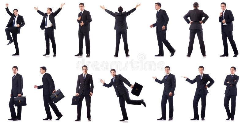 Die Collage des Geschäftsmannes lokalisiert auf Weiß lizenzfreies stockfoto