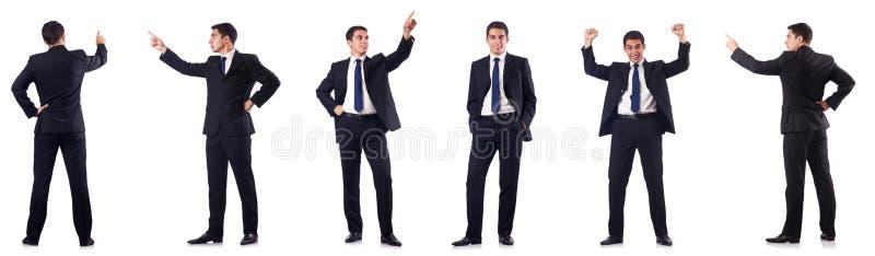 Die Collage des Geschäftsmannes lokalisiert auf Weiß lizenzfreie stockfotografie