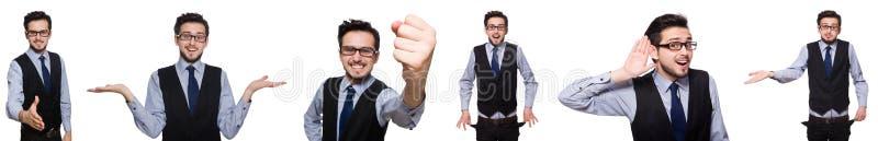 Die Collage des lustigen Geschäftsmannes auf Weiß stockbild