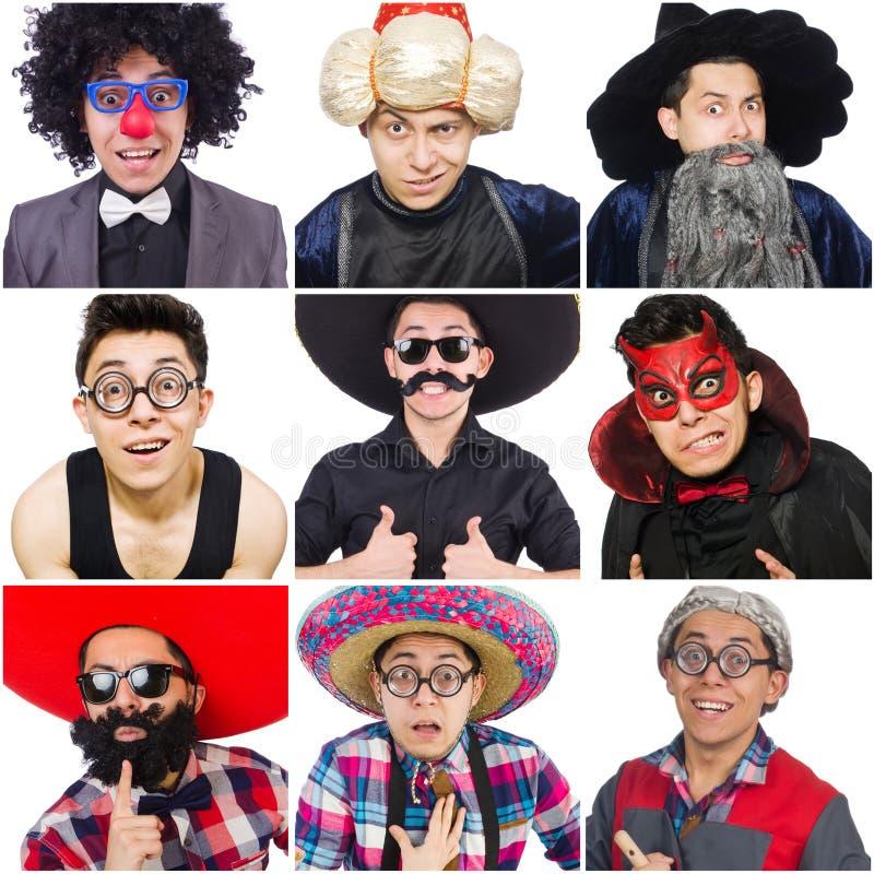 Die Collage vieler Gesichter vom gleichen Modell lizenzfreie stockfotografie
