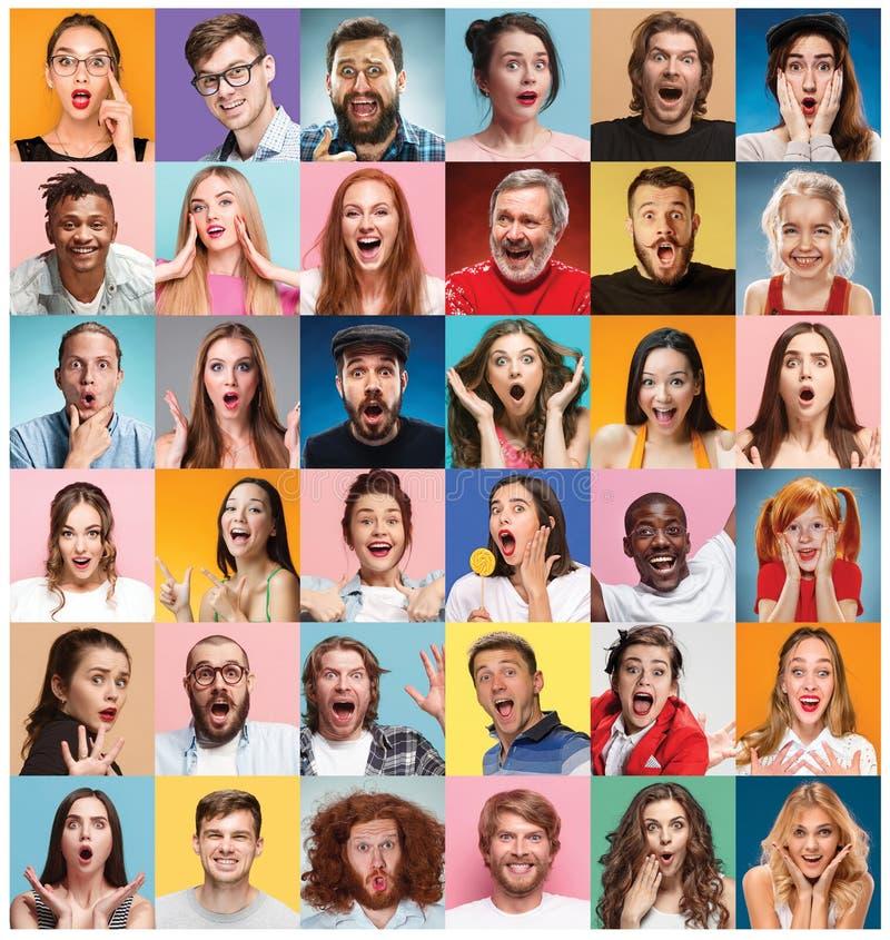 Die Collage von überraschten Leuten lizenzfreies stockbild