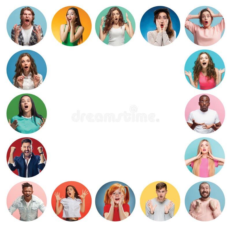 Die Collage von überraschten Leuten lizenzfreie stockfotos