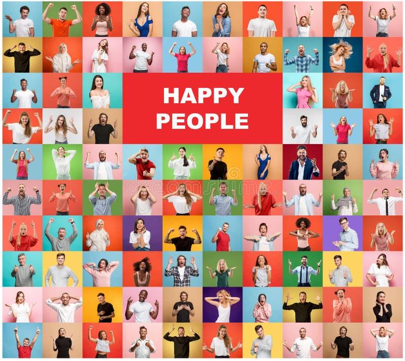 Die Collage von überraschten Leuten stockbild