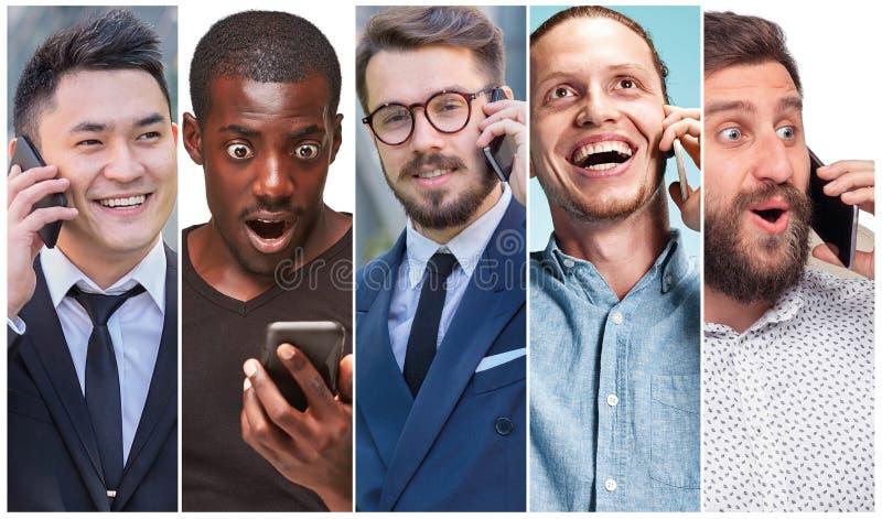 Die Collage von den Bildern der multiethnischen Gruppe glücklicher junger Frauen, die ihre Telefone verwenden lizenzfreie stockbilder