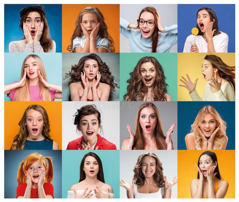 Die Collage von den Frauenbildnissen mit entsetztem Gesichtsausdruck stockfotografie