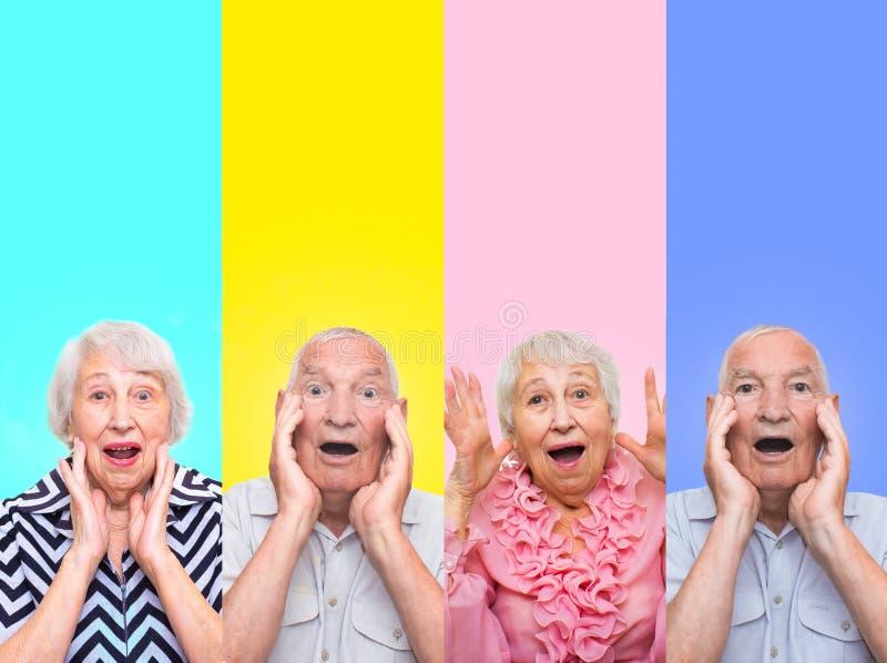 Die Collage von den verschiedenen Gefühlen der älteren Frau und des Mannes lizenzfreie stockfotografie