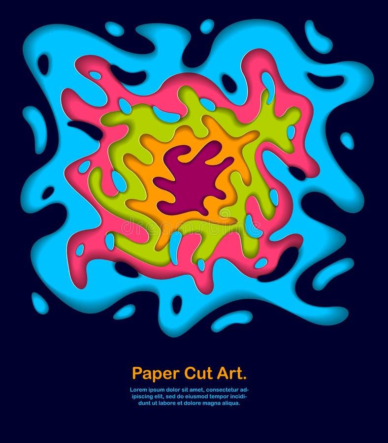 Die curvy überlagerten Formen des abstrakten bunten Papierausschnitts, Vektorillustration im Papier schnitten Art Plan für Visite vektor abbildung
