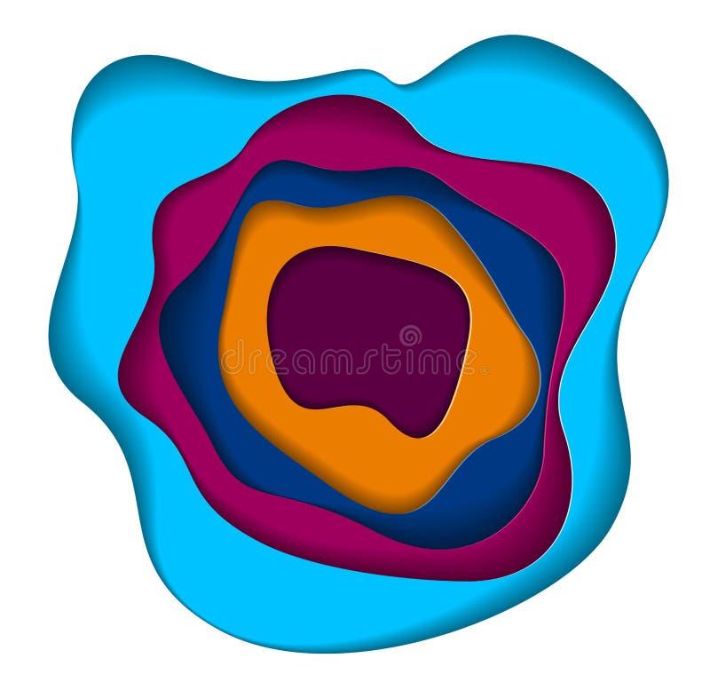 Die curvy überlagerten Formen des abstrakten bunten Papierausschnitts, Vektorillustration im Papier schnitten Art Plan für Visite stock abbildung
